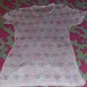 Victoria's Secret Pink Burnout Shirt 86 Love Pink
